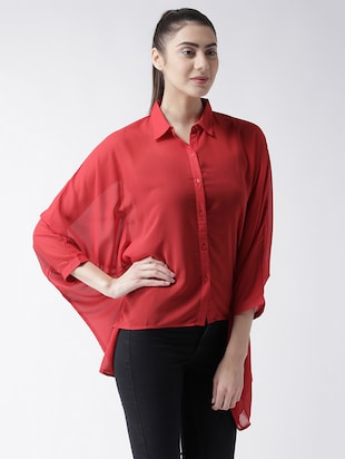 solid red georgette shirt - 15026141 - Standard Image - 2