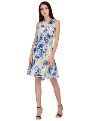 light blue floral drop waist dress - 15026739 - Standard Image - 2