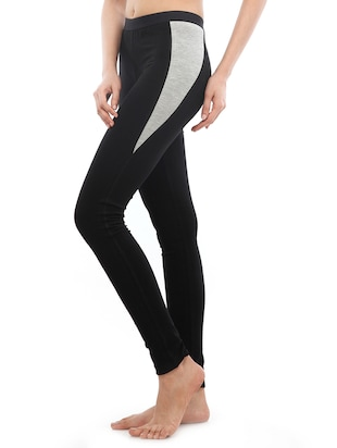 black solid cotton leggings - 15027002 - Standard Image - 2