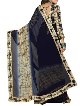 blue georgette printed saree with blouse - 15027351 - Standard Image - 2