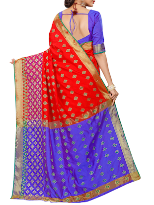red silk blend woven saree with blouse - 15027501 - Standard Image - 2