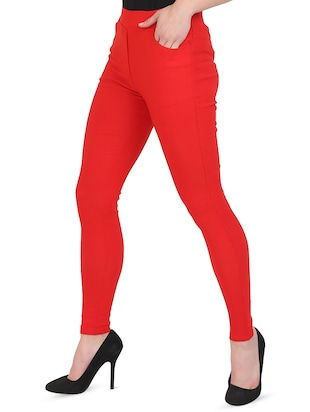 red cotton lycra jeggings - 15027538 - Standard Image - 2