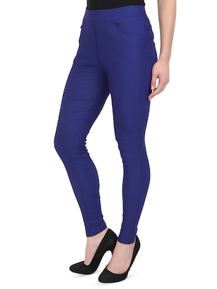 blue cotton lycra jeggings - 15027542 - Standard Image - 2