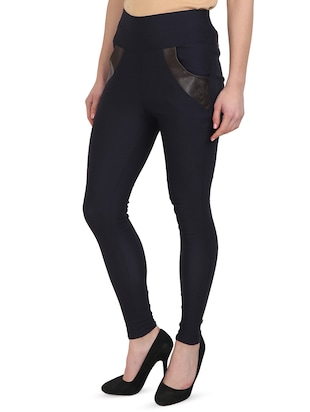 navy blue cotton lycra jegging - 15027548 - Standard Image - 2