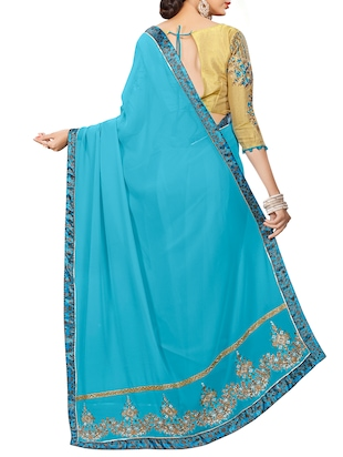 sky blue georgette bordered saree with blouse - 15027586 - Standard Image - 2