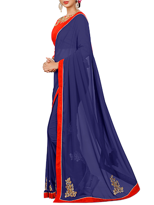 blue georgette embroidered saree with blouse - 15027587 - Standard Image - 2