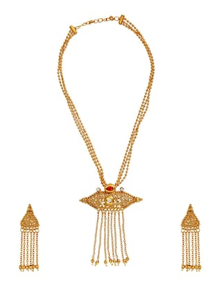 gold brass necklace & earrings set - 15028075 - Standard Image - 2