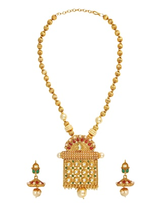 golden colored brass necklace & earrings set - 15028077 - Standard Image - 2