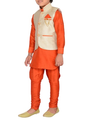 orange silk blend kurta pyjama set with nehru jacket - 15028270 - Standard Image - 2