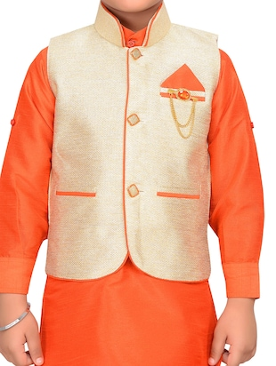 orange silk blend kurta pyjama set with nehru jacket - 15028270 - Standard Image - 5