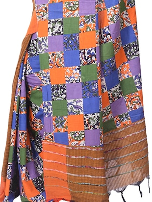 orange cotton tant saree - 15028576 - Standard Image - 2