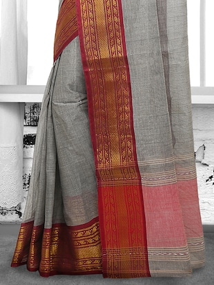 grey cotton tant saree - 15028580 - Standard Image - 2