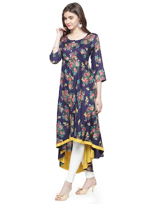 Floral high low kurta - 15029884 - Standard Image - 2