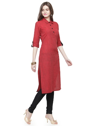 Rose red solid kurta - 15029896 - Standard Image - 2
