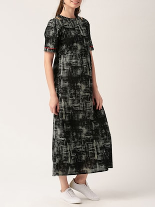 black printed cotton maxi dress - 15030226 - Standard Image - 2