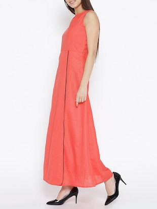 solid pink cotton maxi dress - 15030234 - Standard Image - 2