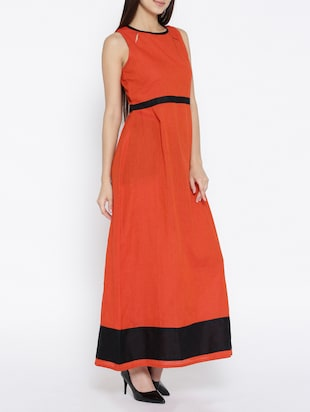 orange printed cotton maxi dress - 15030235 - Standard Image - 2