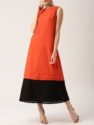 solid orange cotton maxi dress - 15030261 - Standard Image - 2