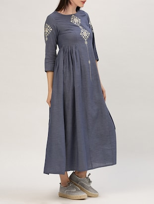 blue cotton maxi dress - 15030286 - Standard Image - 2