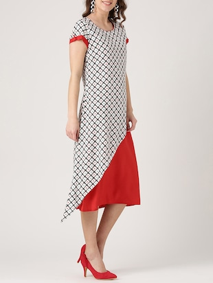 white printed rayon a-line dress - 15030303 - Standard Image - 2