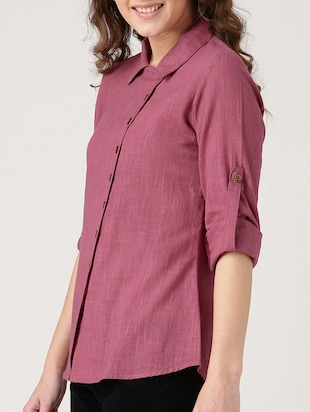 solid pink cotton shirt - 15030388 - Standard Image - 2