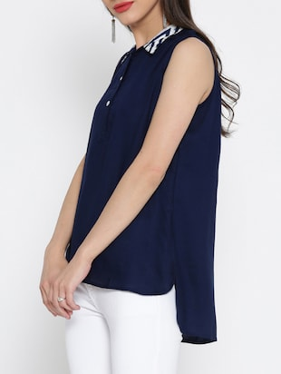 navy blue rayon high-low top - 15030435 - Standard Image - 2