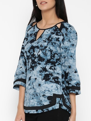 blue printed cotton top - 15030439 - Standard Image - 2
