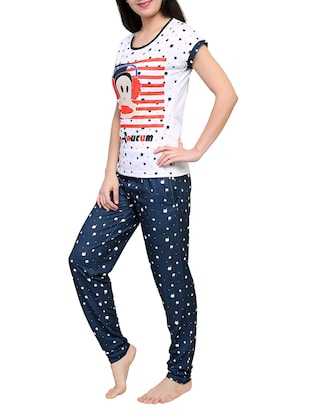Multicolored printed nightwear pajama set - 15030631 - Standard Image - 2