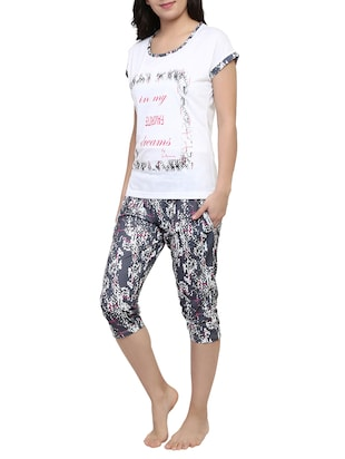 multicolored printed capri nightwear set - 15030653 - Standard Image - 2