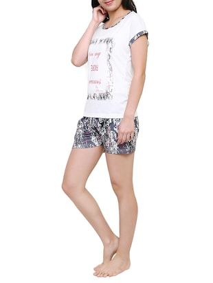 multicolored printed nightwear shorts set - 15030672 - Standard Image - 2