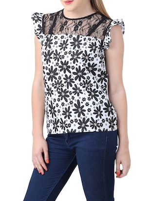 white printed cotton top - 15030801 - Standard Image - 2