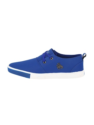 blue leatherette lace up sneaker - 15030839 - Standard Image - 2
