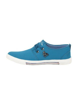 light blue leatherette lace up sneaker - 15030842 - Standard Image - 2