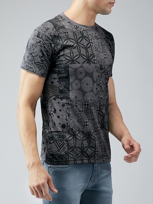 grey cotton all over print t-shirt - 15030935 - Standard Image - 2