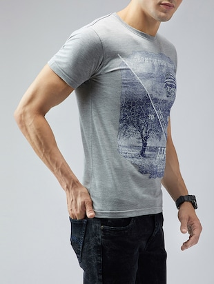 grey cotton front print t-shirt - 15030946 - Standard Image - 2