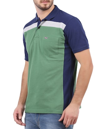 green cotton color block tshirt - 15032369 - Standard Image - 2
