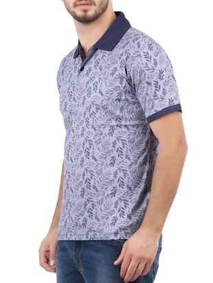 blue cotton all over print tshirt - 15032373 - Standard Image - 2