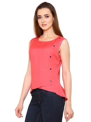 pink rayon wrap top - 15032881 - Standard Image - 2