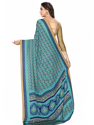 turquoise crepe printed saree with blouse - 15032929 - Standard Image - 2