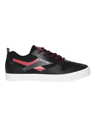 black leatherette lace up sneaker - 15033362 - Standard Image - 2