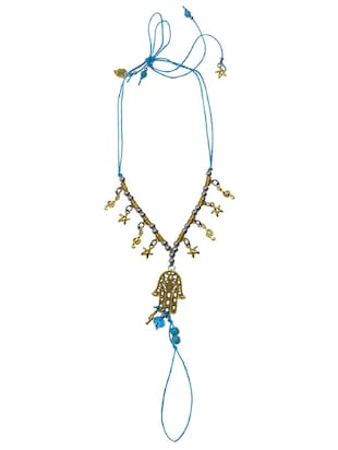 blue metal anklets and payal - 15033398 - Standard Image - 2