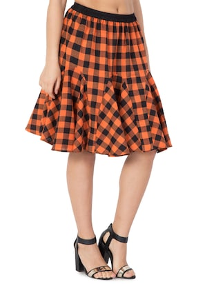 orange checkered cotton flared skirt - 15033458 - Standard Image - 2