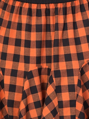 orange checkered cotton flared skirt - 15033458 - Standard Image - 5