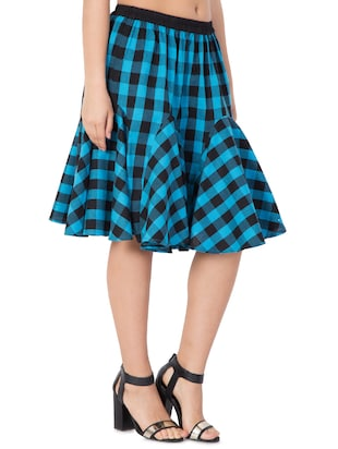 blue checkered cotton flared skirt - 15033459 - Standard Image - 2