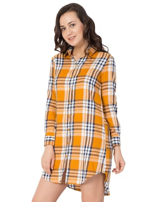 yellow checkered cotton shirt dress - 15033460 - Standard Image - 2