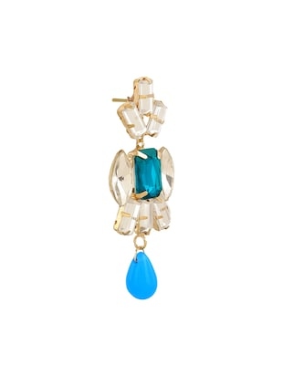 blue colored brass drop earring - 15033464 - Standard Image - 2