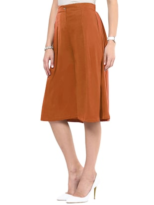 solid brown crepe culottes - 15033739 - Standard Image - 2