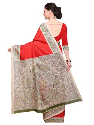 red khadi printed saree with blouse - 15033762 - Standard Image - 2