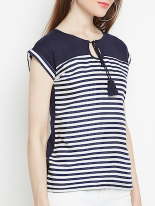 navy blue striped top - 15034194 - Standard Image - 2