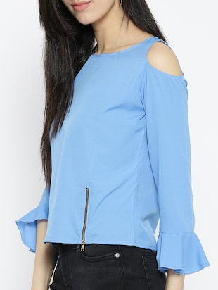 cold shoulder bell sleeved top - 15034225 - Standard Image - 2